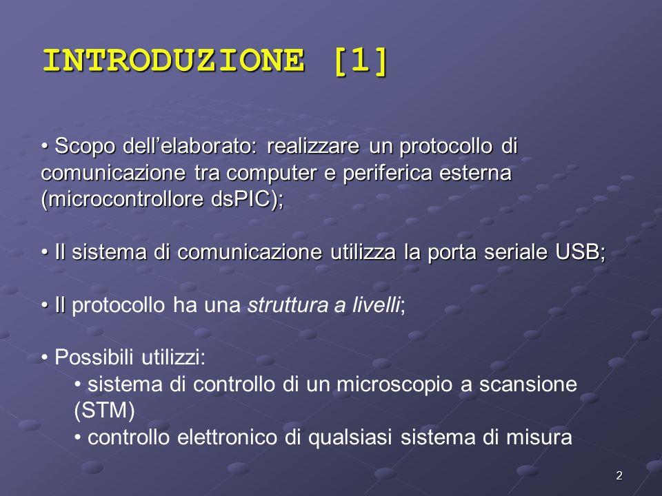 INTRODUZIONE [1] Scopo dell'elaborato: realizzare un protocollo di comunicazione tra computer e periferica esterna (microcontrollore dsPIC);